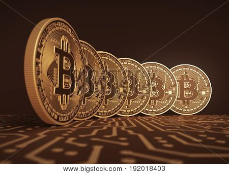 Six Virtual Coins Bitcoins On Printed Circuit Board. 3D Illustration.
