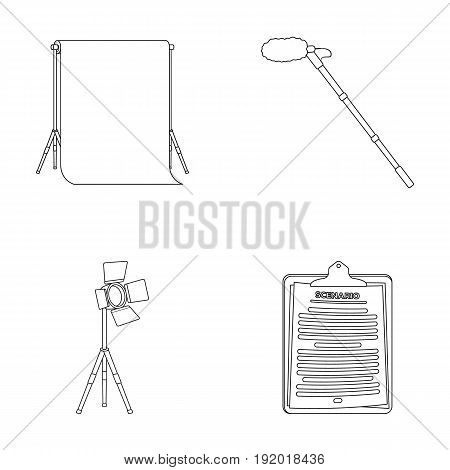 Hromakey, script and other equipment. Making movies set collection icons in outline style vector symbol stock illustration .