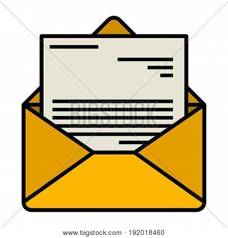 white background with colorful silhouette of envelope mail opened with letter with thick contour vector illustration