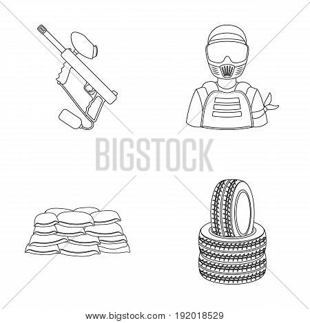 Paintball marker, player and other accessories. Paintball single icon in outline style vector symbol stock illustration .