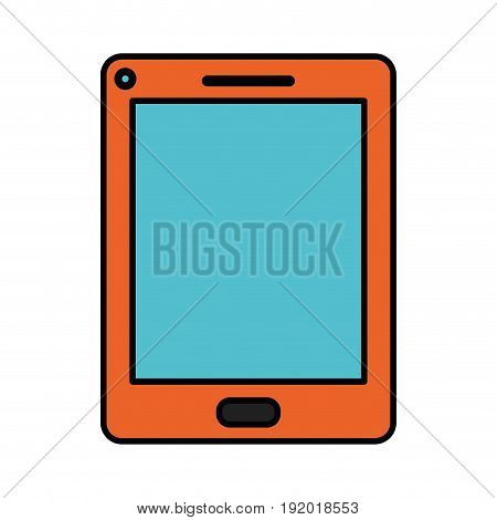 white background with orange cover on tablet with thick contour vector illustration