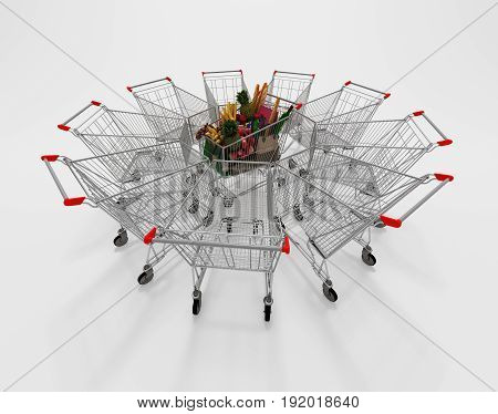 Full Shopping Cart In The Center Of Empty Shopping Carts. 3D Illustration.
