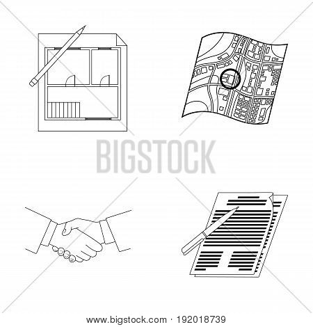 House plan, documents for signing, handshake, terrain plan. Realtor set collection icons in outline style vector symbol stock illustration .