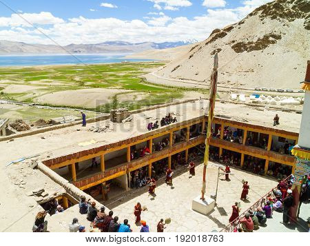 """Korzok,india -€"""" July 23:  View From Above On The Tso Moriri Lake And Courtyard Of The Monastery Dur"""