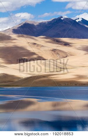 Tso Moriri Mountain Lake Panorama With Mountains And Blue Sky Reflections In The Lake
