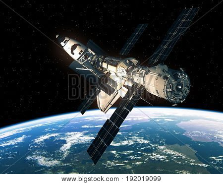 Space Shuttle And International Space Station In Space. 3D Illustration.