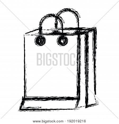white background with monochrome blurred silhouette of shopping bag vector illustration