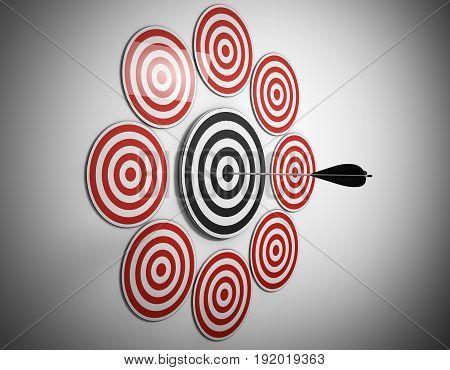 multiple target arrow hits center 3d render