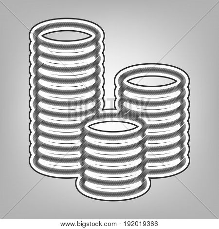 Money sign illustration. Vector. Pencil sketch imitation. Dark gray scribble icon with dark gray outer contour at gray background.