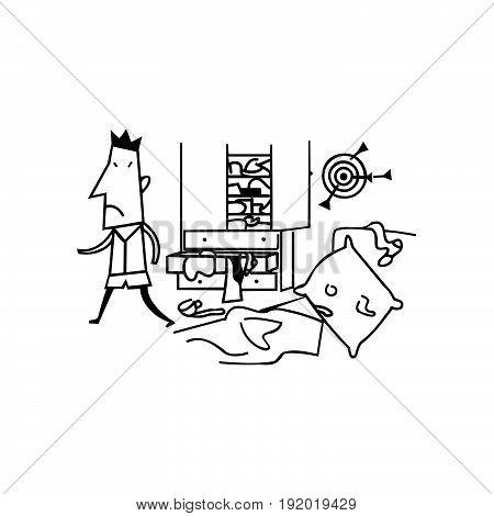 messy room boys. cartoon Vector Illustration design