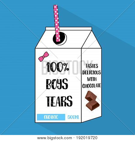 Vector cartoon bottle of boys tears with dotted tube sticker. Fun 90s flat girls illustration. Retro sign with chocolate. Comic trendy print.