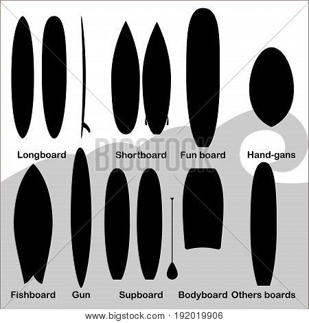 Surf boards Vector illustration Set of silhouette icons with different surf boards on white background Black and white icons set A variety of surf boards with their names