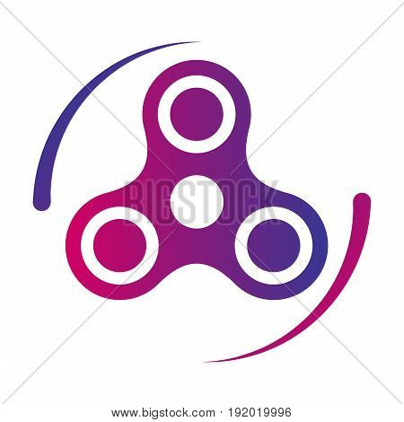 Hand spinner fidget toy vector gradient color icon. For reducing stress and anxiety.