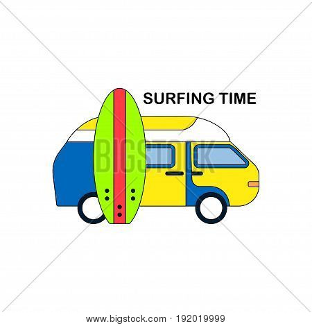 Surfing icon Vector illustration Isolated icon on white background Vintage travel bus and surf board Thin line style