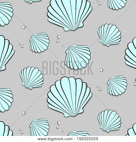 Vector seashells with jewels. Tropical summer nature gem background. Fashion vacation tropical ocean print.