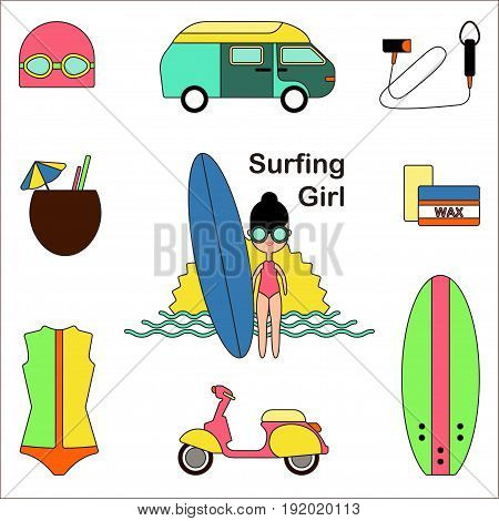 Surfing girl Vector illustration Surfing girl Vector illustration Icons set in thin line style Girl with surf board and equipment for surfing on white background Multicolored icons set