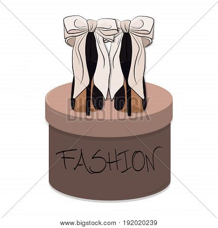 Vector high heels illustration. Stiletto sexy shoes on round box packaging background. Shopping print, retail present footwear.