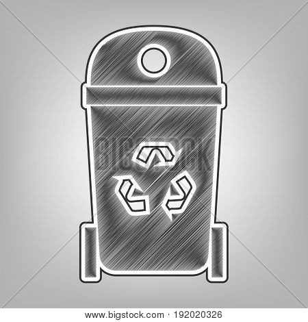 Trashcan sign illustration. Vector. Pencil sketch imitation. Dark gray scribble icon with dark gray outer contour at gray background.