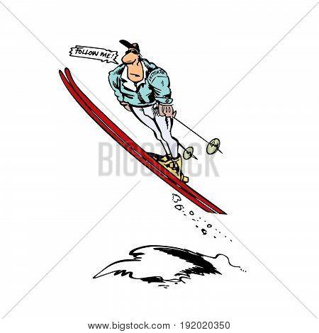 man skier jump cartoon . Vector Illustration design