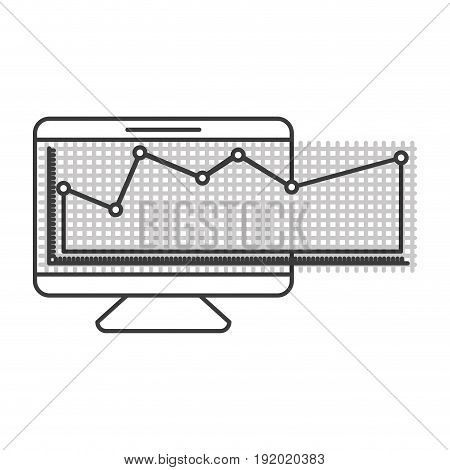 monochrome silhouette of screen monitor and financial risk graphic vector illustration