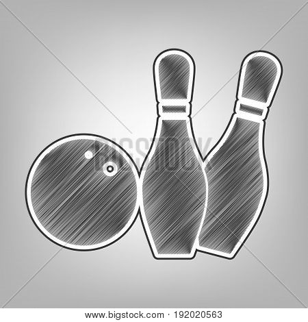Bowling sign illustration. Vector. Pencil sketch imitation. Dark gray scribble icon with dark gray outer contour at gray background. poster