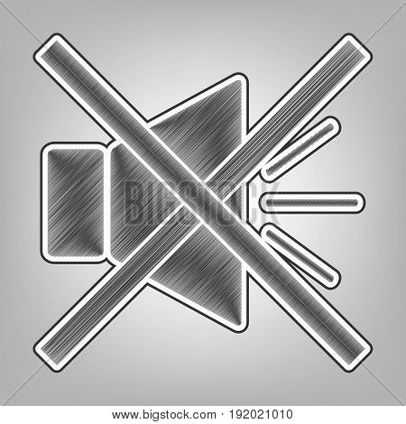 Sound sign illustration with mute mark. Vector. Pencil sketch imitation. Dark gray scribble icon with dark gray outer contour at gray background.