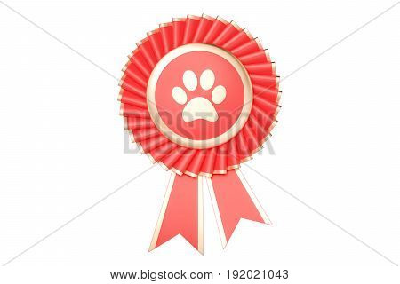 Dog or cat winning award prize medal or badge with ribbons. 3D rendering