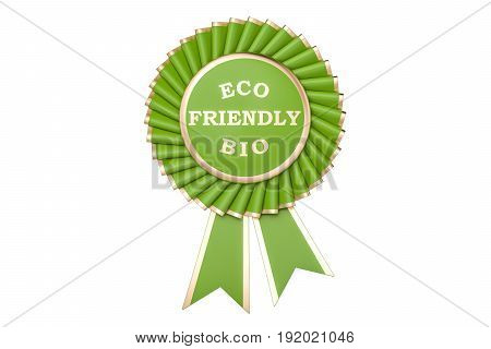 Eco friendly bio award prize medal or badge with ribbons. 3D rendering isolated on white background