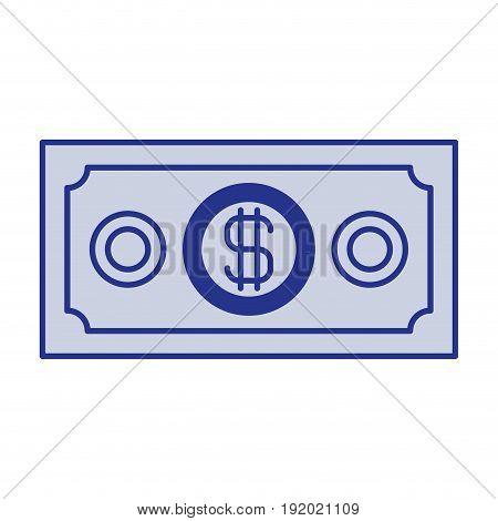 blue silhouette of money bill vector illustration