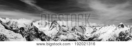 Black And White Panorama Of Snow Winter Mountain