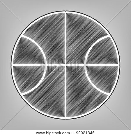Basketball ball sign illustration. Vector. Pencil sketch imitation. Dark gray scribble icon with dark gray outer contour at gray background.