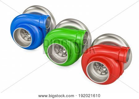 set of colored car turbocharger 3D rendering isolated on white background