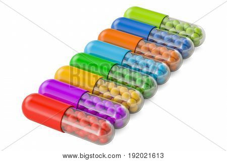 Set of colored medicament capsules 3D rendering