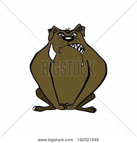bulldog cartoon. vector animal cartoon Illustration design.