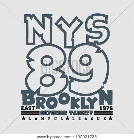T-shirt New york Brooklyn sports athletics Typography Fashion design clothing