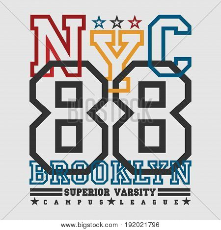 T-shirt New york Brooklyn sports athletics Typography Fashion original design clothing