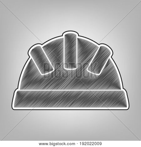 Baby sign illustration. Vector. Pencil sketch imitation. Dark gray scribble icon with dark gray outer contour at gray background.