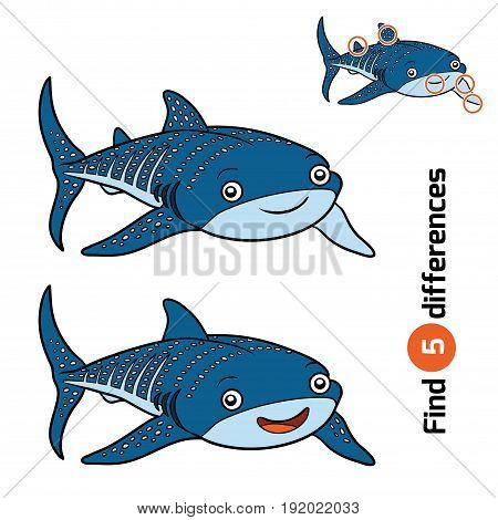 Find differences, education game for children, Whale shark