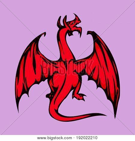 Red Dragon . cartoon character . Vector Illustration.