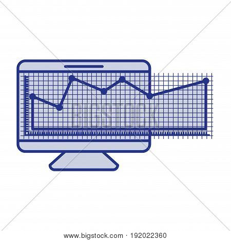 blue silhouette of screen monitor and financial risk graphic vector illustration