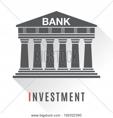Bank concept icon isolated on white background. Vector illustration for financial design. Bank architecture building logo. Money dollar symbol sign. Investment, bank, mortgage, finance concept icon.