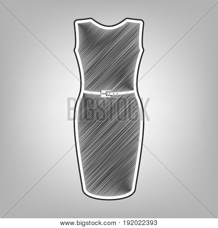 Dress sign illustration. Vector. Pencil sketch imitation. Dark gray scribble icon with dark gray outer contour at gray background.