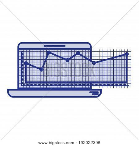 blue silhouette of laptop computer and financial risk graphic vector illustration