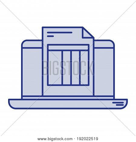 blue silhouette of laptop computer and billing sheet vector illustration