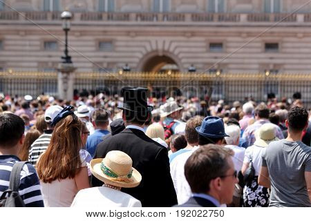 London England 17th June 2017 Crowds outside Buckingham Palace after Trooping The Colour