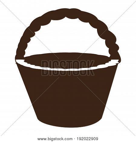 Isolated silhouette of a wooden basket, Vector illustration