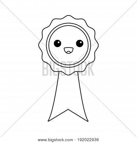 kawaii rosette certificate cartoon design vector illustration