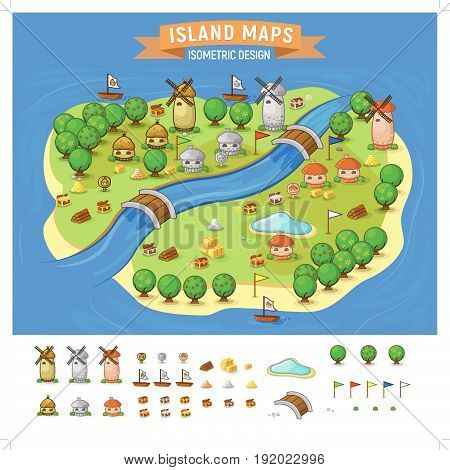 Vector set. Summer vacation. Tropical islands. Time to travel -Island Map With Elements Set