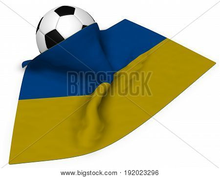 soccer ball and flag of the ukraine - 3d rendering