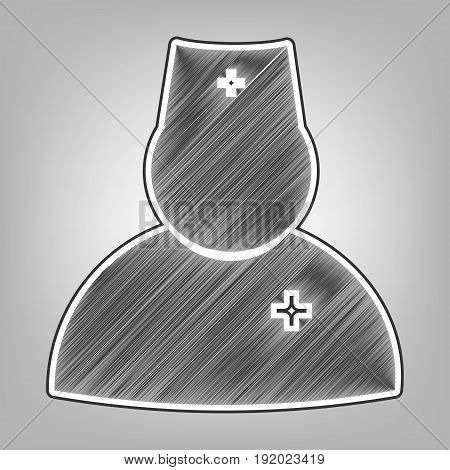 Doctor sign illustration. Vector. Pencil sketch imitation. Dark gray scribble icon with dark gray outer contour at gray background.